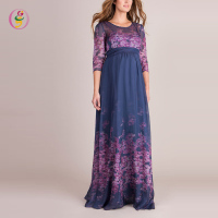 New Look Digital Printed Floral Silk Maternity Gown Pregnant Chiffon Straight Evening Maxi Dress