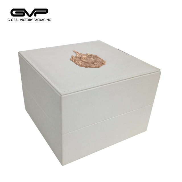 White color leather Watch Box Display Case, PU Leather Watch Box