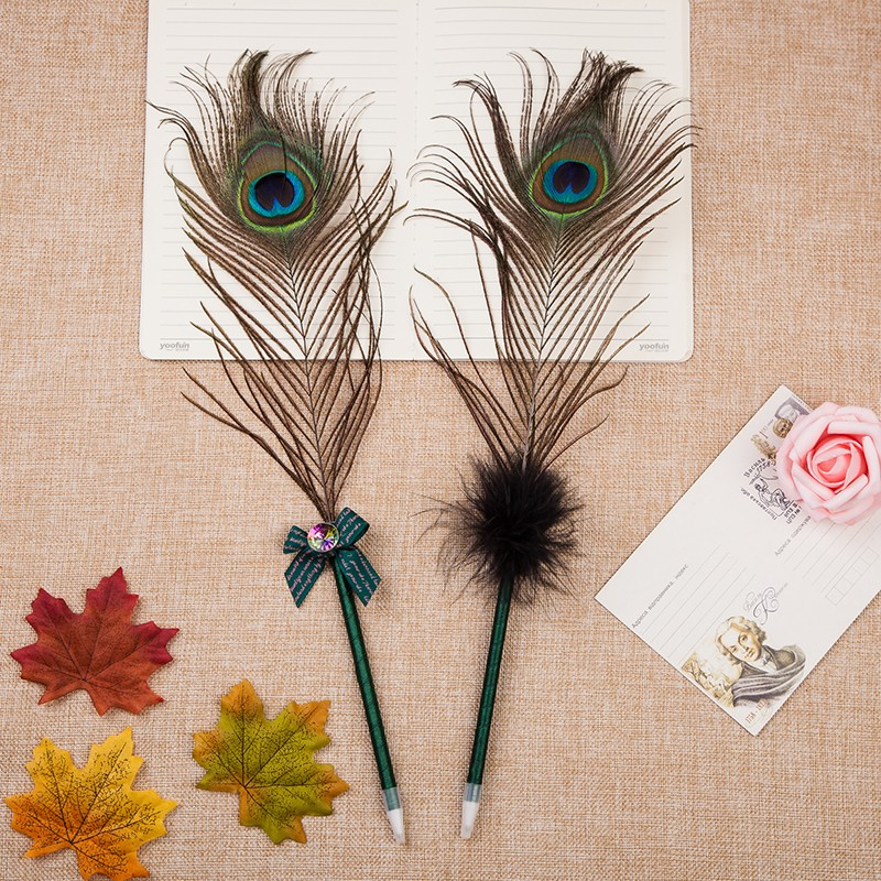Advertising feather ball pen cheap high quality quill pen for gift set