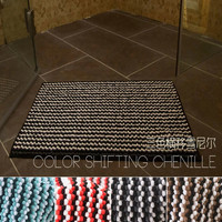 polyester luxury heart shape absorbent chenille bath mat, new product multi color bath mat