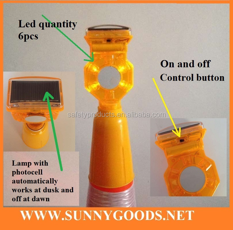 6pcs yellow leds solar led warning beacon lighting