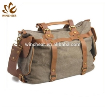 Soft and comfortable cotton webbing shoulder strap waxed travel custom canvas duffle waterproof duffel bag