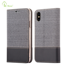 Flip Jeans leather wallet case for iPhone X ,jeans pattern leather stand cover case for iPhone X with card slot