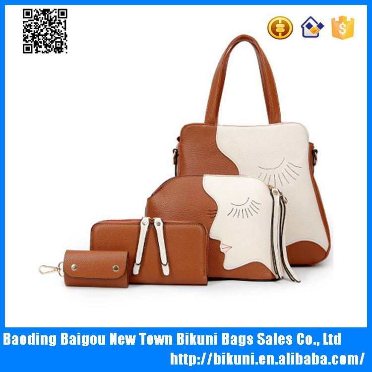 Tmall hot sale tote women bags 4pcs in 1 PU leather high quality bags set for women