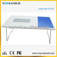 Adjustable laptop cooling desk with cooling fan standing, hot sale laptop table on wheels