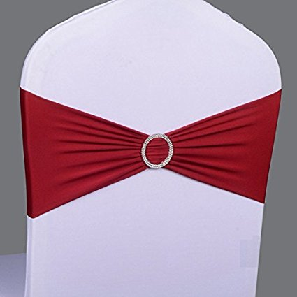 Spandex chair cover sashes with buckle/chair cover bands stretch sashes for wedding and banquet