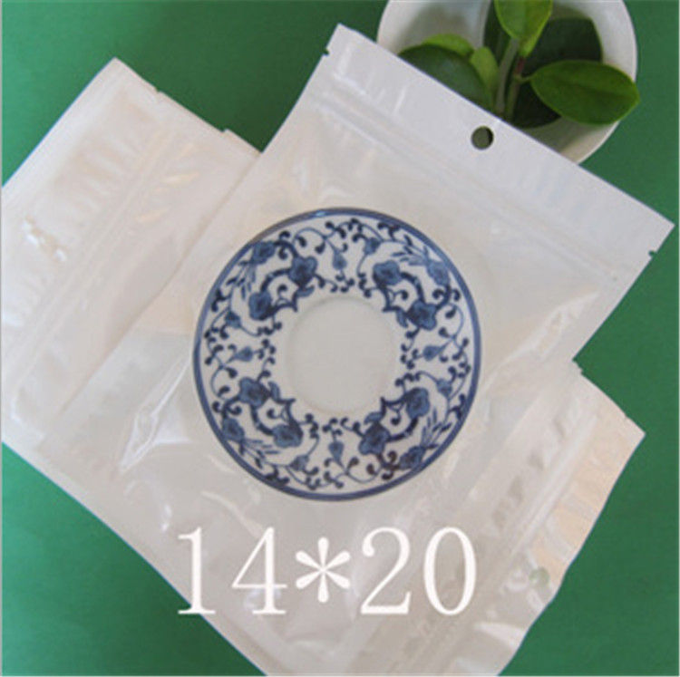 14*20cm White / Clear Self Seal Zipper Plastic Retail Packaging Bag, Zip Lock Ziplock Bag Retail Package with Hang Hole