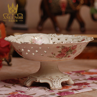 New product Gold Dish Morden Carve Patterns Porcelain Compote Liquid Gold Ceramic Rose Fruit Plate