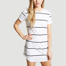 korean fashion streetwear clothing factory high quality round neckline short sleeve striped girl dress
