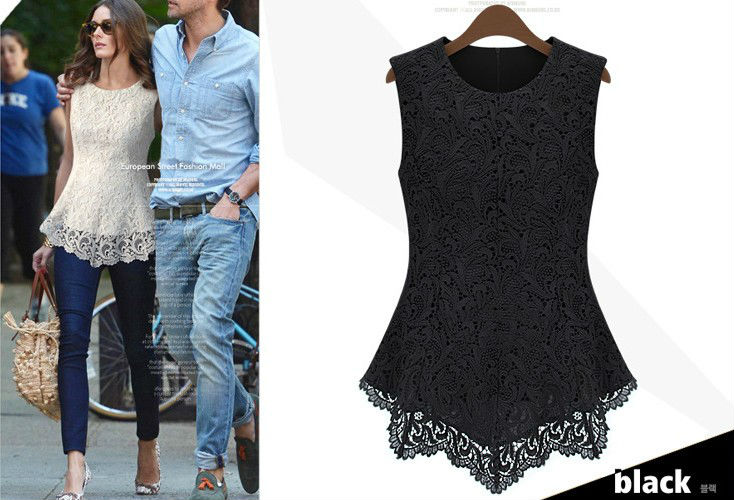 2013 fashion summer women sleeveless lace blouse tops hollow out embroidery patchwork Slim t-shirts