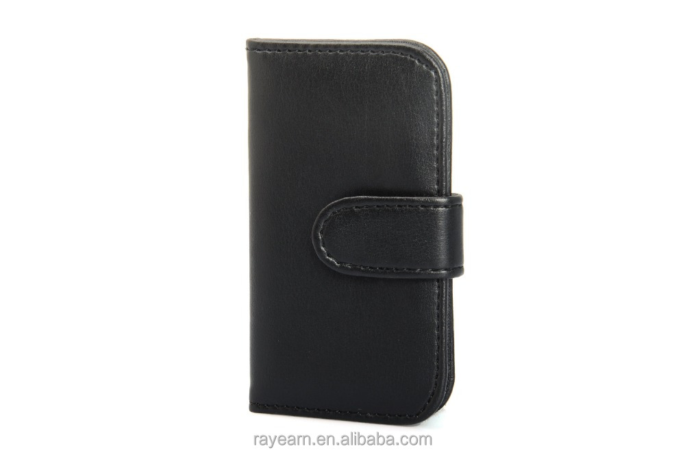 Black genuine PU passport holder case with Velcro close Passport protective case