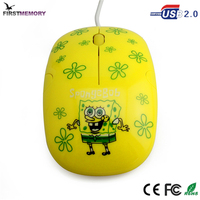 Cute SpongeBob Computer PC High Quality 1600 DPI USB 2.0 Wired Gaming Mouse
