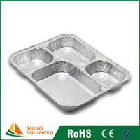 Disposable aluminum foil container tray lunch box for food packaging