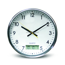15 inch metal decoration round wall clock with temperature and date