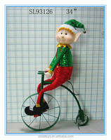Christmas decoration stuffed elf dolls Sitting on Unicycle
