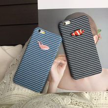 2017 new arrival embroidered gold fish & blue whale relievo canvas TPU phone case for iPhone 7/7P