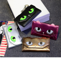 Hot Sale Fashion Soft PU Leather Lady Wallet with cat head