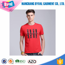 Garment manufacturer in China 100% cotton mens t-shirts printed with pattern o-neck short sleeve slim fit casual tshirt
