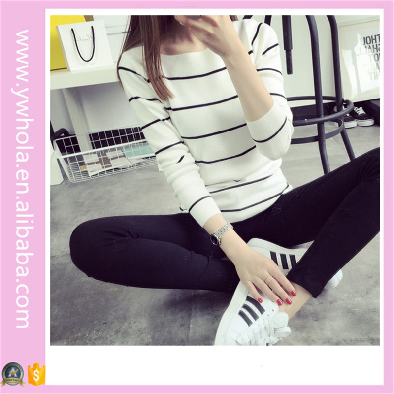 Long Sleeve Stripe Latest Fashion Korean Design Winter Cashmere Sweater Women