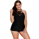 Plus Size Women Swimsuit Black Macrame High Neck 2pcs Bathing Suit