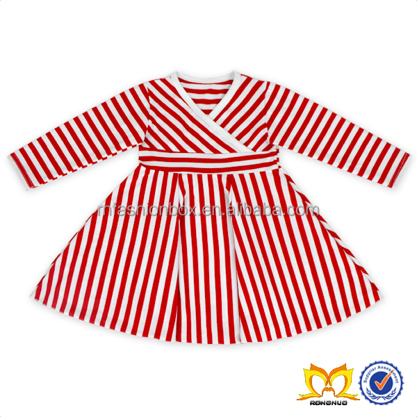 Highlow Red And White Stripe Dress Kids Cotton Frocks Design Children Girl Dress