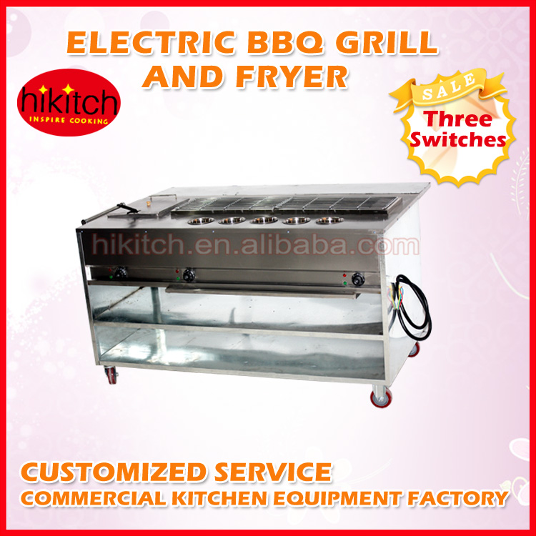 Snack food equipment electric fryer with BBQ grill with sauce pots cabinet