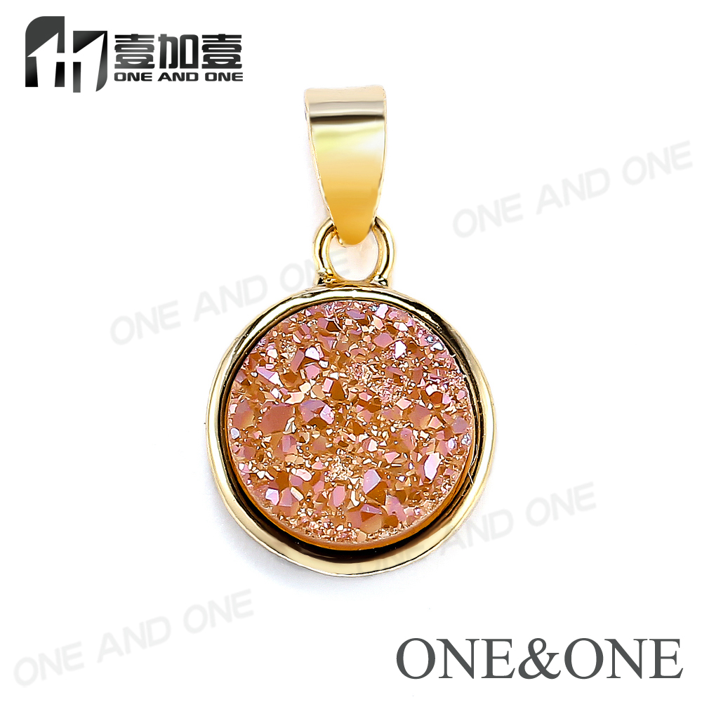 Gold <strong>Pendant</strong> Designs with Natural Druzy Gems Druzy Clusters <strong>Pendants</strong> Fashion Jewelry for Women