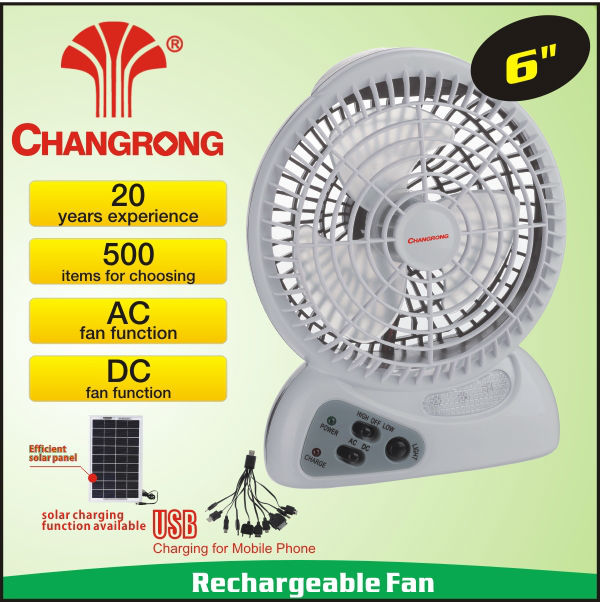 outdoor indoor rechargeable ac dc mini handy fan with super bright light 220V