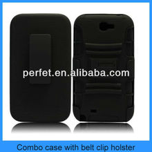 BLACK 3 in 1 RUGGED HYBRID CASE COVER WITH BELT CLIP HOLSTER KICKSTAND COMBO CASE FOR NOTE 2 SAMSUNG GALAXY NOTE 2(PT-SN2201)