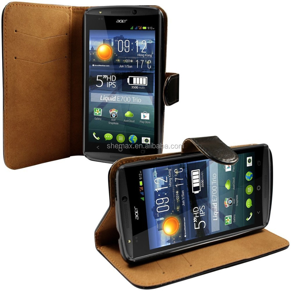 Black Pu Leather Wallet Case Cover For The Acer Liquid E700