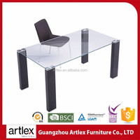 Colored Tempered High Gloss Glass Heavy-duty Dining Table And Chairs