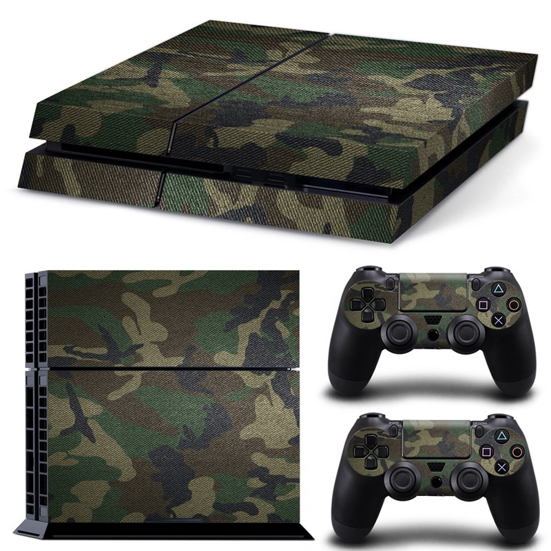 Removable Camouflage Camo pattern Vinyl Skin Sticker Film For PlayStation 4 PS4 Console + 2Pcs Free Controller Cover Decals