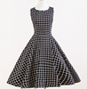 1950s Vintage Sleeveless Party Swing Black White Plaid Dress