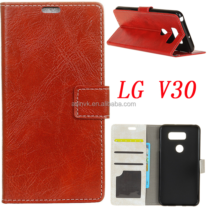 Classical Leather case with Card Slot Money Pocket and Kickstand feature Leather case cover for LG V30