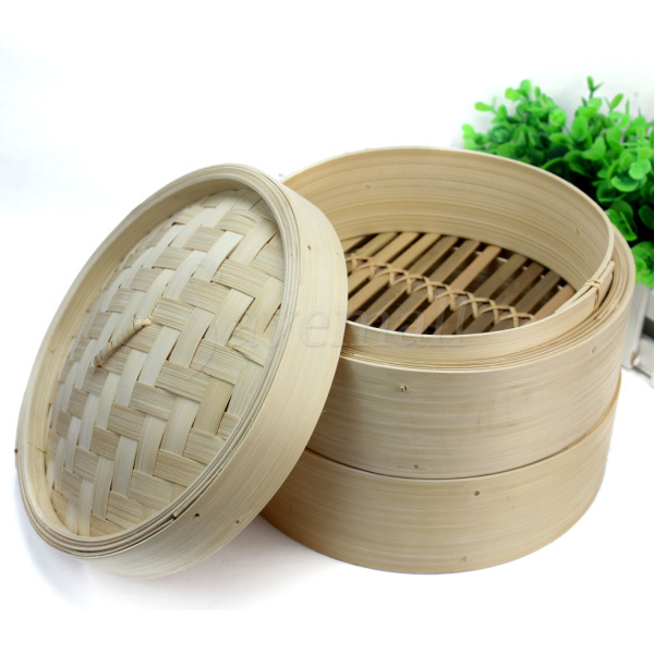 "Chinese Cookware Handmade 8"" Round Bamboo Steamer Optima Steamer for Sale"