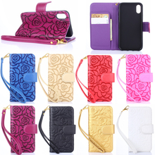 Emboss Camellia Flower Pattern Leather Mobile Phone Flip Case for iPhone X with Lanyard