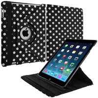 Black White Polka Dot Rotating Leather Pouch Case Cover Stand for Apple iPad Air