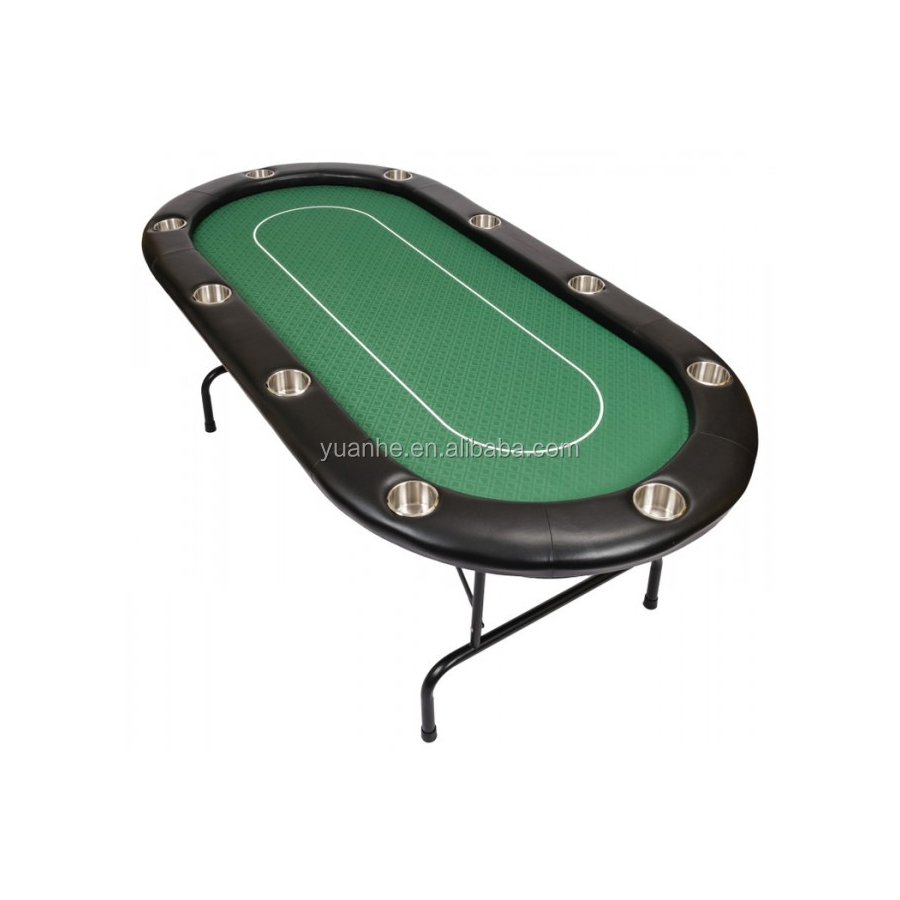 84 inch 10 person texas hold'em poker tournament de Table with Folding Metal Legs