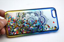 Customized printing pattern eletroplating quicksand cover liquid glitter case for android phone , for iphone 7/7 plus