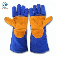 Blue Cow Split Leather Welder Safety Glove for Soldering