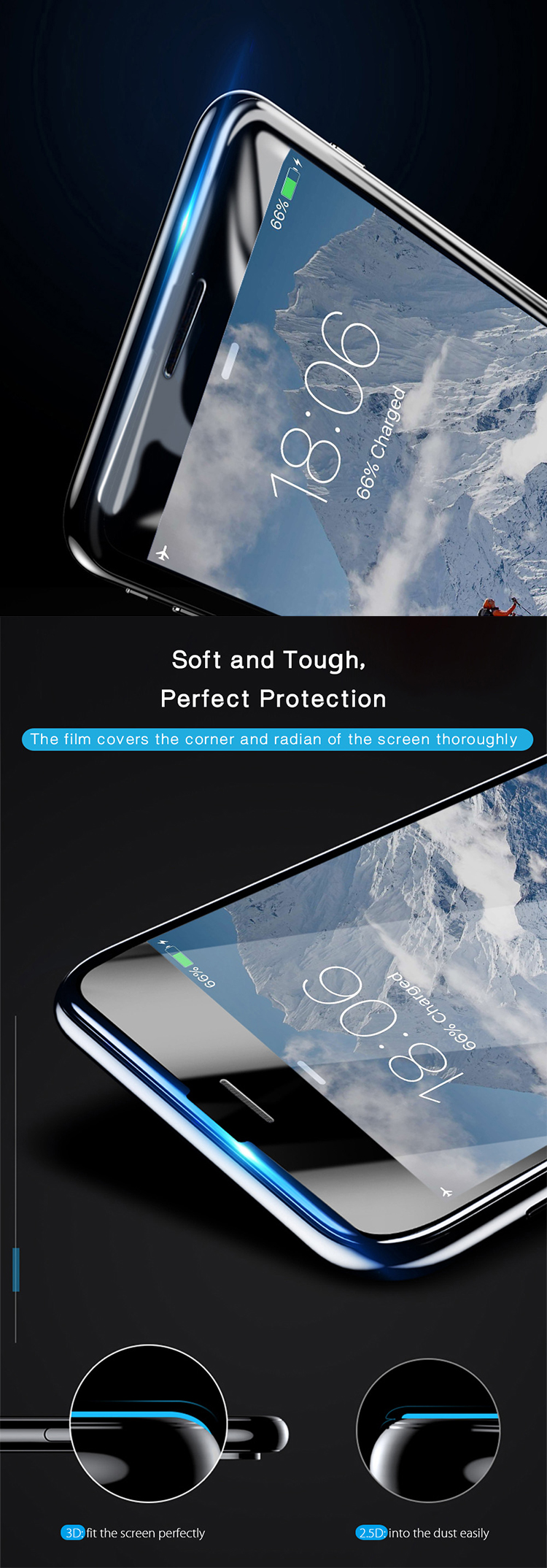 9h 3d curved flexible glass screen protector for iphone 8 tempered glass