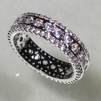SJ Jewelry Collection YR7084 (2) European Classic Trend Brass White Gold Plated Simulated Diamond Shiny Cubic Zircon Finger Ring