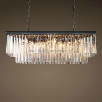 Vintage Square Cristal Iron Pendant Lighting Chandelier