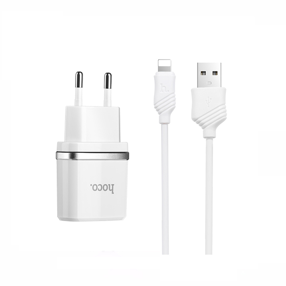 HOCO <strong>C12</strong> 5V 2.4A EU Plug Dual Port Power Adapter USB for Apple Fast Charger