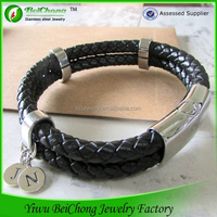 2015 Hot! manufacturer wholesale Metal Tag Leather Bracelets With Magnetic Clasp