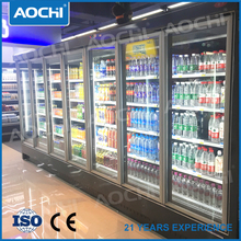supermarket commercial glass door multideck display refrigerator