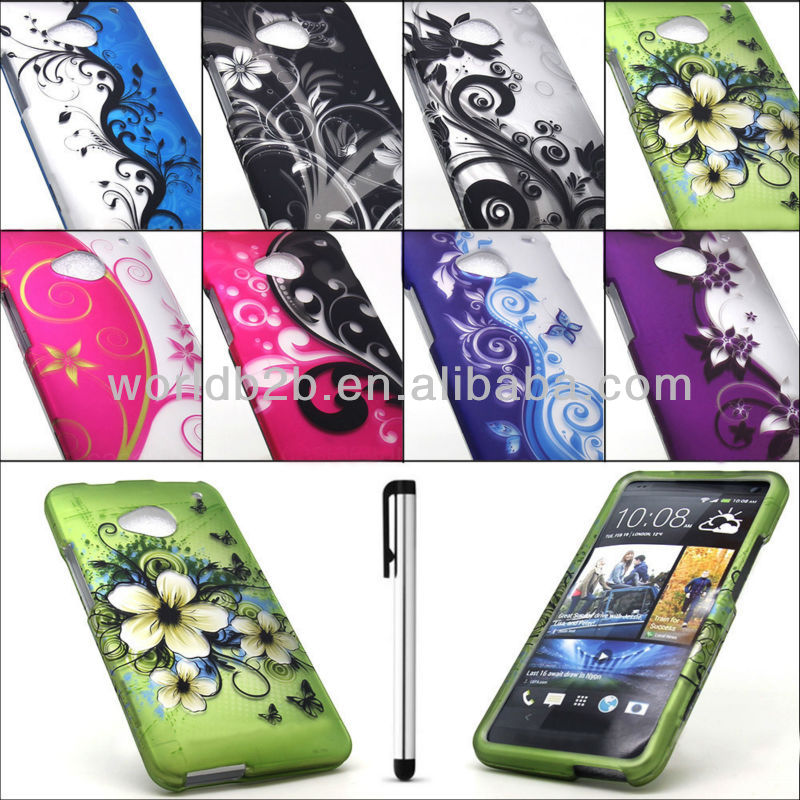 Hot Sellling Colorful Design Rubber Hard Case Case For HTC One M7