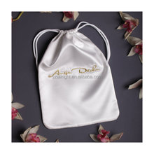 satin pouch embroidered bag, white Lingerie bag