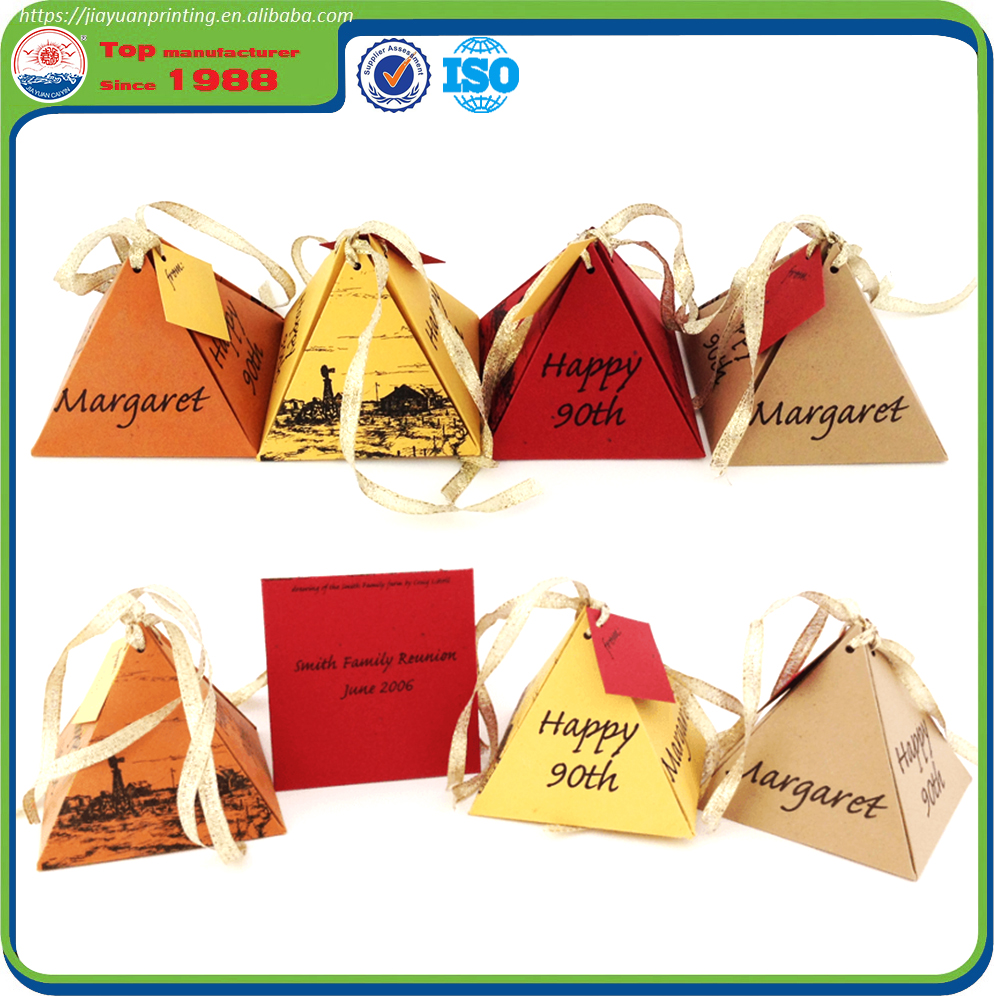 Custom Colorful Paper Triangle Shape Gift Box Packaging