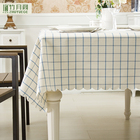 Elegant 100% Polyester Waterproof Nano Blue Large Lattice Custom Modern Simple Table Cloth Fabric